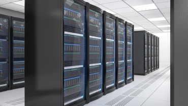 Modern server room interior in data center. 3D rendering image.